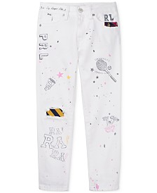 Polo Ralph Lauren Big Girls Graffiti Slim Cotton Boyfriend Jeans