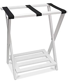 Right Height Folding Luggage Rack with Bottom Shelf, White