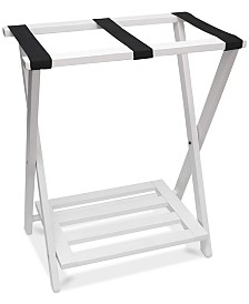 Lipper International Right Height Folding Luggage Rack with Bottom Shelf, White