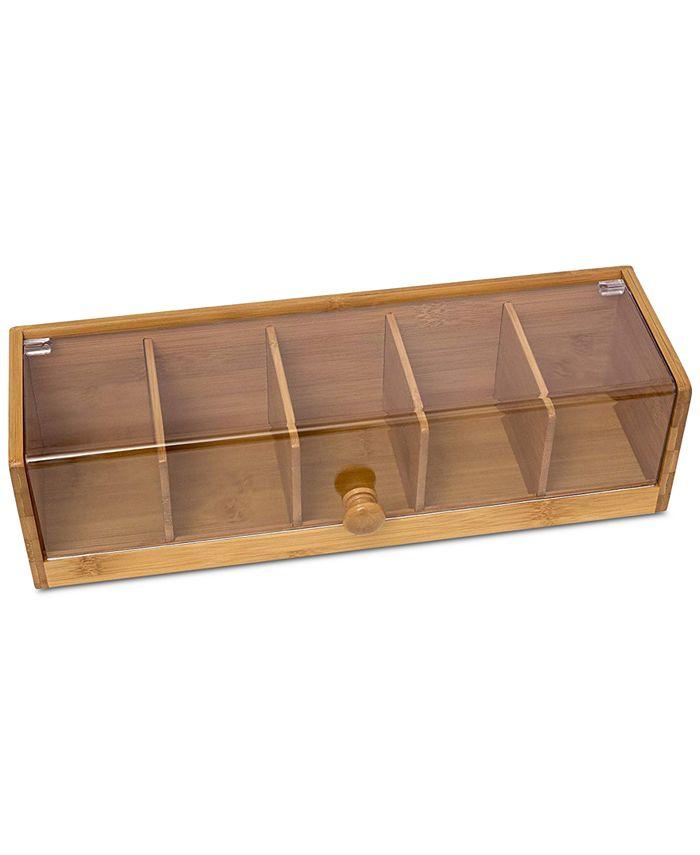 Lipper International - Bamboo & Acrylic 5-Section Tea Box