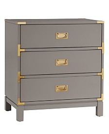 Herley 3-Drawer Gold Accent End Table Nightstand