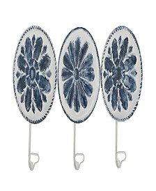 Rosemary Lane Set of 3 Contemporary Round Iron Floral Wall Hooks
