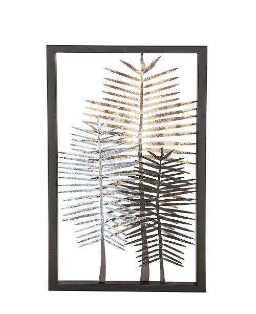 Rosemary Lane Modern Iron Framed Leaves Wall Decor