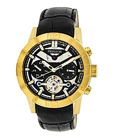 Automatic Hamilton Black Dial, Gold Case, Genuine Black Leather Watch 44mm