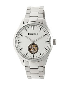 Heritor Automatic Crew Silver Stainless Steel Watch 46mm