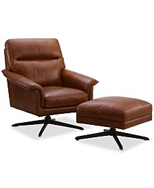 Plassey Leather 2-Pc. Chair and Ottoman