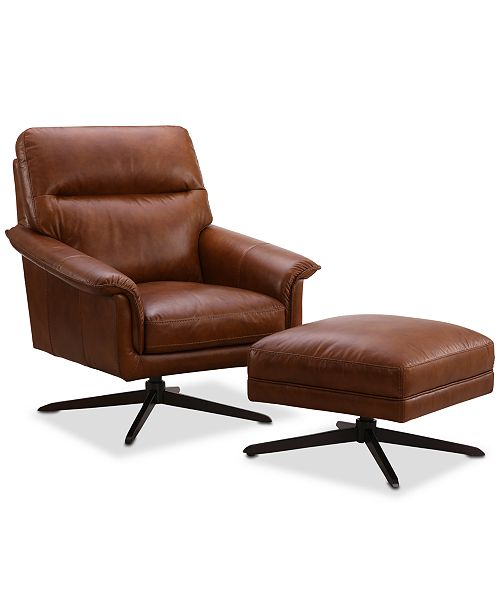 Furniture Plassey Leather 2-Pc. Chair and Ottoman