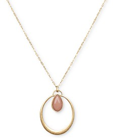 "Lucky Brand Gold-Tone Reversible Stone Pendant Necklace, 29"" + 2"" extender"