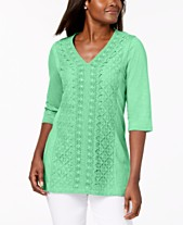 a3c842fbb55 JM Collection Embellished Lace-Contrast Top, Created for Macy's