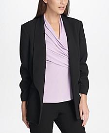 Petite Textured Ruched-Sleeve Blazer