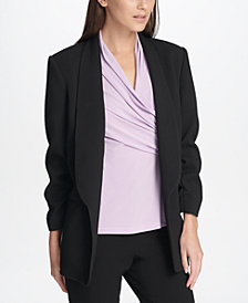 DKNY Petite Textured Ruched-Sleeve Blazer