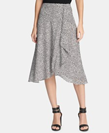 DKNY Printed Ruffled Skirt