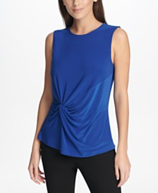 DKNY Petite Side-Knot Top