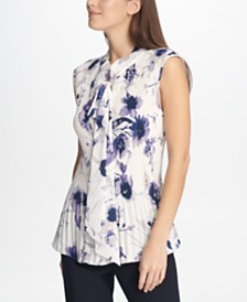 DKNY Sleeveless Pleated Floral Top