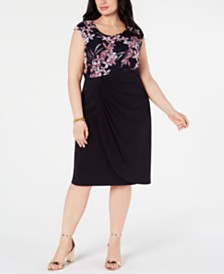 Connected Plus Size Floral-Top A-Line Dress