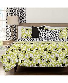 Full Circle Green Modern Reversible 5 Piece Twin Luxury Duvet Set