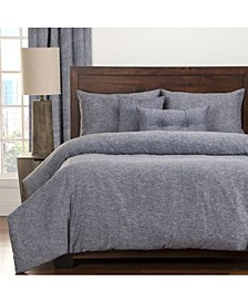 Pacific Denim Linen 6 Piece Queen Luxury Duvet Set