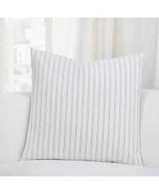 """Siscovers Ticking Stripe Pewter 20"""" Designer Throw Pillow"""