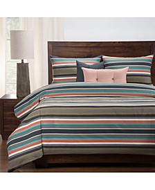 Everlast Preppy Stain Resistant 6 Piece Queen Luxury Duvet Set