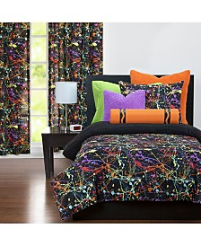 Neon Splat 6 Piece Full Size Luxury Duvet Set