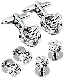 Sutton Silver-Tone Knot Cufflink And Tuxedo Button Set