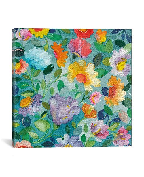 """iCanvas """"Turquoise Flowers"""" By Kim Parker Gallery-Wrapped Canvas Print - 37"""" x 37"""" x 0.75"""""""
