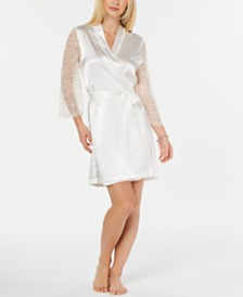 Linea Donatella Ivory Lace-Back Short Wrap Robe