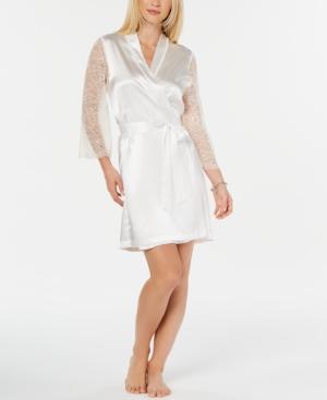 Ivory Lace-Back Short Wrap Robe