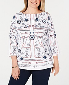 Plus Size Nautical-Print Top, Created for Macy's