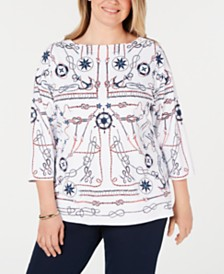 Charter Club Plus Size Nautical-Print Top, Created for Macy's