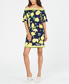 Trina Turk Off-The-Shoulder Lemon-Print Shift Dress