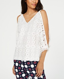 Trina Turk Lace Open-Sleeve Top