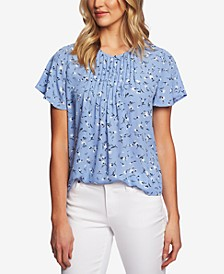 Printed Pintucked-Neck Flutter-Sleeve Top