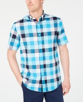 ad394a32 Club Room Men's Checked Linen Shirt, Created for Macy's