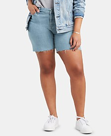 Levi's® Trendy Plus Size Embroidered Raw-Hem Denim Shorts