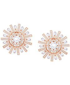 Rose Gold-Tone Crystal Sunshine Clip-On Stud Earrings