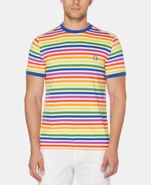 1960s – 70s Mens Shirts- Disco Shirts, Hippie Shirts Original Penguin Mens Pride Rainbow Stripe T-Shirt $49.00 AT vintagedancer.com
