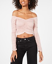 4b424c0020 Material Girl Juniors  Ruched Off-The-Shoulder Cropped Top