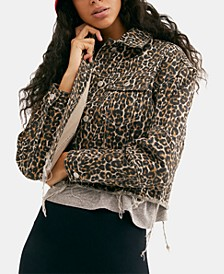 Cotton Cheetah-Print Raw-Hem Jacket