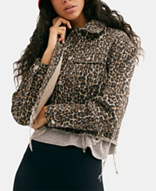 Free People Cotton Cheetah-Print Raw-Hem Jacket