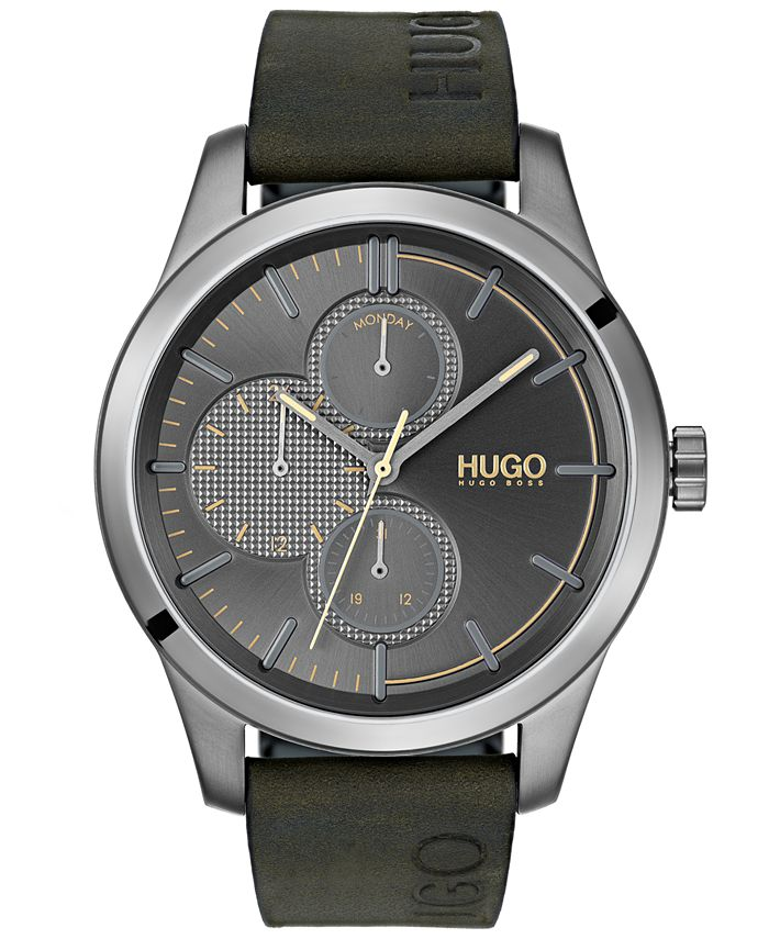 HUGO - Men's #Discover Green Leather Strap Watch 46mm