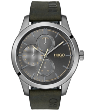 Hugo Men's #Discover Green Leather Strap Watch 46mm
