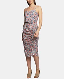 1.STATE Floral-Print Ruched Slipdress