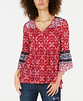 f118d68092f627 Style & Co Printed Mesh Lantern-Sleeve Top, Created for Macy's