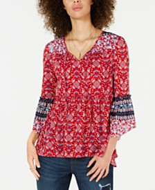 Style & Co Printed Mesh Lantern-Sleeve Top, Created for Macy's