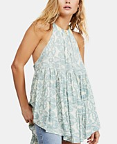 298ca85034c Free People Mimi Printed High-Low Halter Tunic