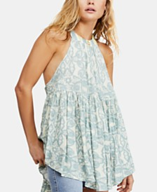Free People Mimi Printed High-Low Halter Tunic