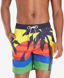 "Tommy Hilfiger Men's Darcy TH Flex Stretch Tropical-Print 6-1/2"" Swim Trunks"