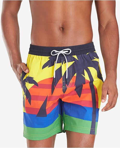 "Tommy Hilfiger Men's Darcy TH Flex Stretch Tropical-Print 6-1/2"" Swim Trunks"