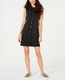 Style & Co Petite Frayed Button-Up Jean Dress, Created for Macy's